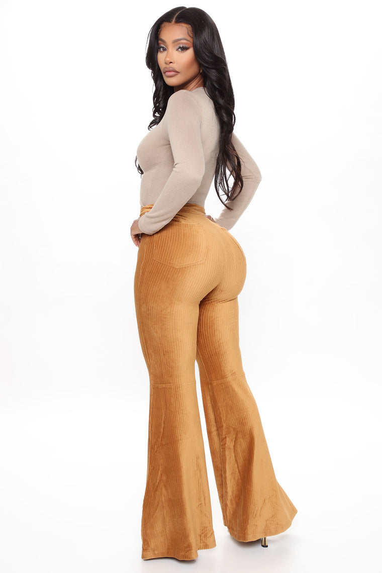 On Cord With It Flare Pants - Camel