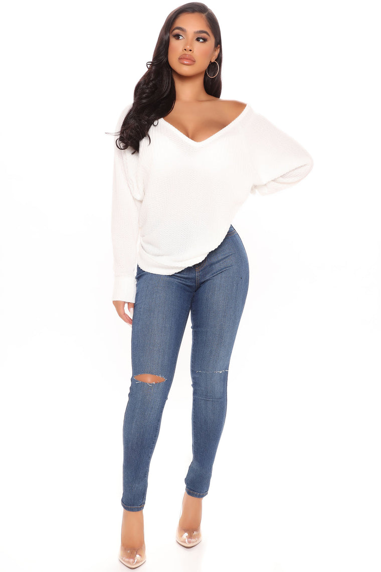 Let's Stay In Today V Neck Top - Ivory