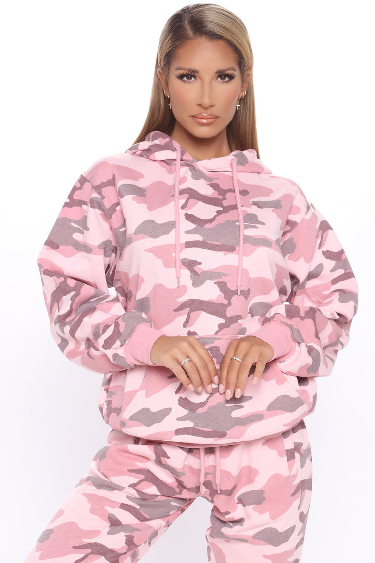 Camo Stole Your Boyfriend's Oversized Hoodie - Pink