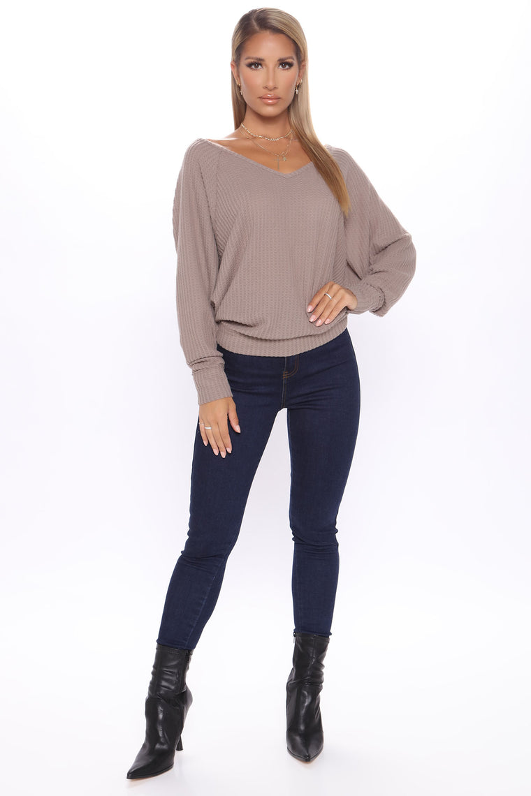 Let's Stay In Today V Neck Top - Mocha