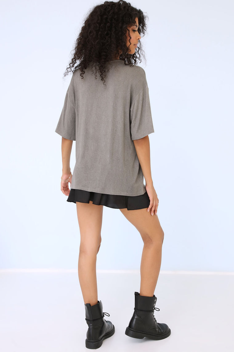 Del Sol Oversized T Shirt - Grey Mineral Wash
