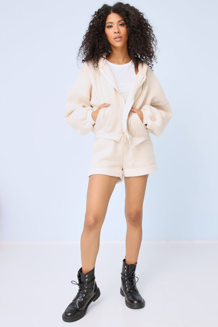 Brandy Super Cozy Short Set - Cream