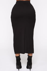 Boarding Jets Midi Skirt - Black