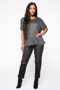 Simple Perfection Twist Back Top - Charcoal
