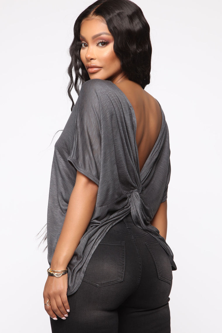 Simple Perfection Twist Back Top   Charcoal by Fashion Nova