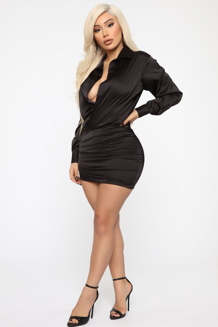 My Sidekick Satin Shirt Dress - Black