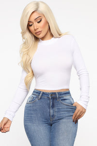 Sincere Mock Neck Long Sleeve Top - White Angle 1