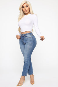 Sincere Mock Neck Long Sleeve Top - White Angle 4
