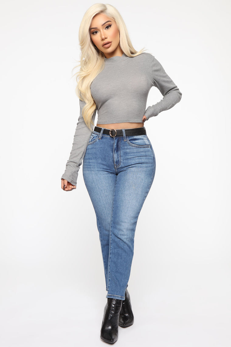 Sincere Mock Neck Long Sleeve Top - Grey