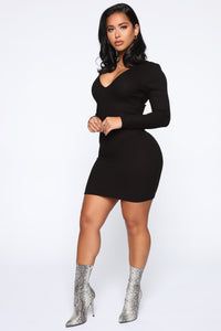 Save My Number Mini Dress - Black