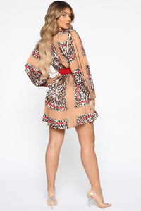 Spotted You Leopard Mini Dress - Brown/Combo