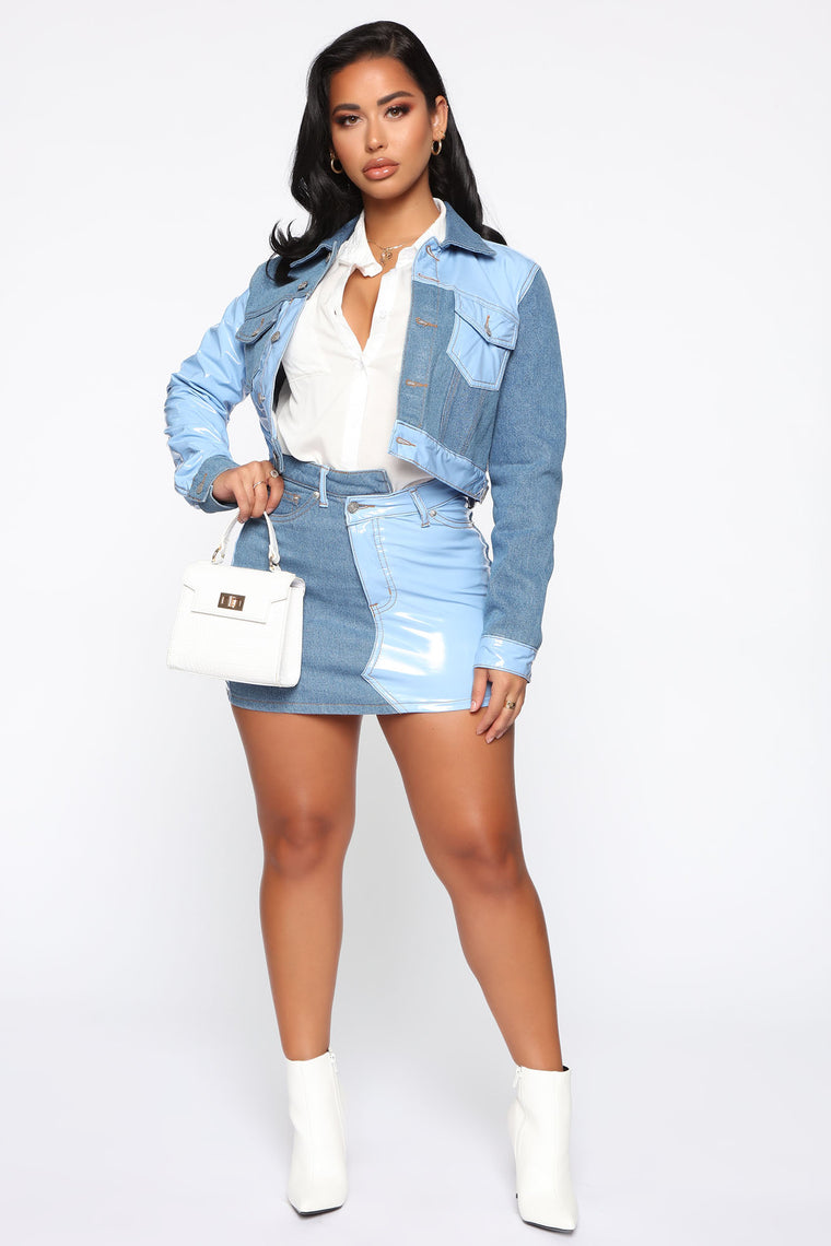 So Problematic Two Tone Skirt - Blue/Combo