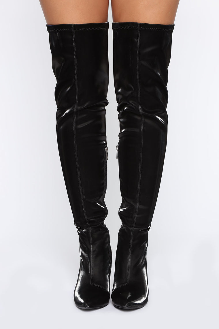 Try Another Time Over The Knee Boots - Black