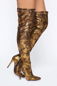 Told You So Heeled Boots - Gold