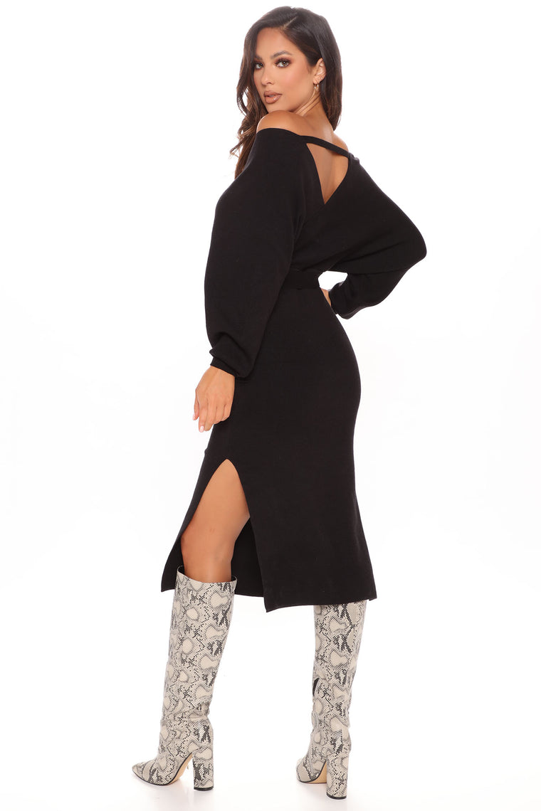 Wrapped All Around Me Midi Sweater Dress - Black