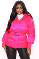 Here Comes The Storm Puffer Jacket - Hot Pink