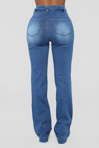 Tanya Belted Flare Jeans - Medium Blue Wash