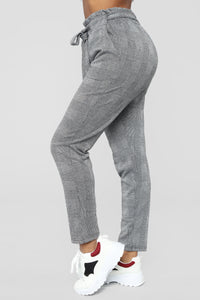 Plaidly In Love Tie Waist Pants - Black/White