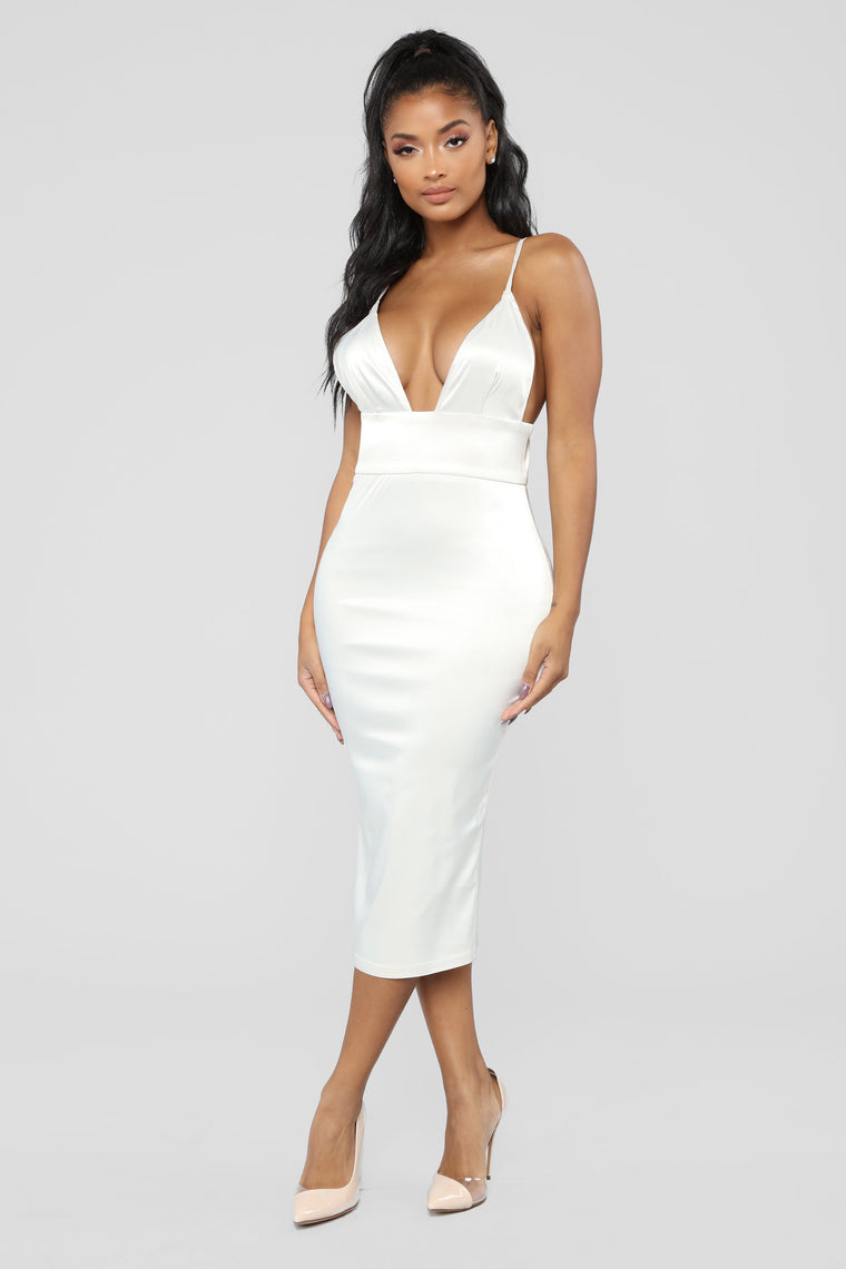 Taking The Night Satin Dress - Ivory