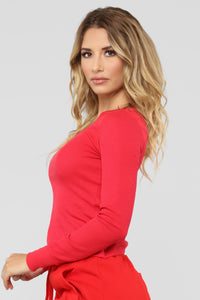 Ashley V Neck Top - Scarlet Red Angle 3