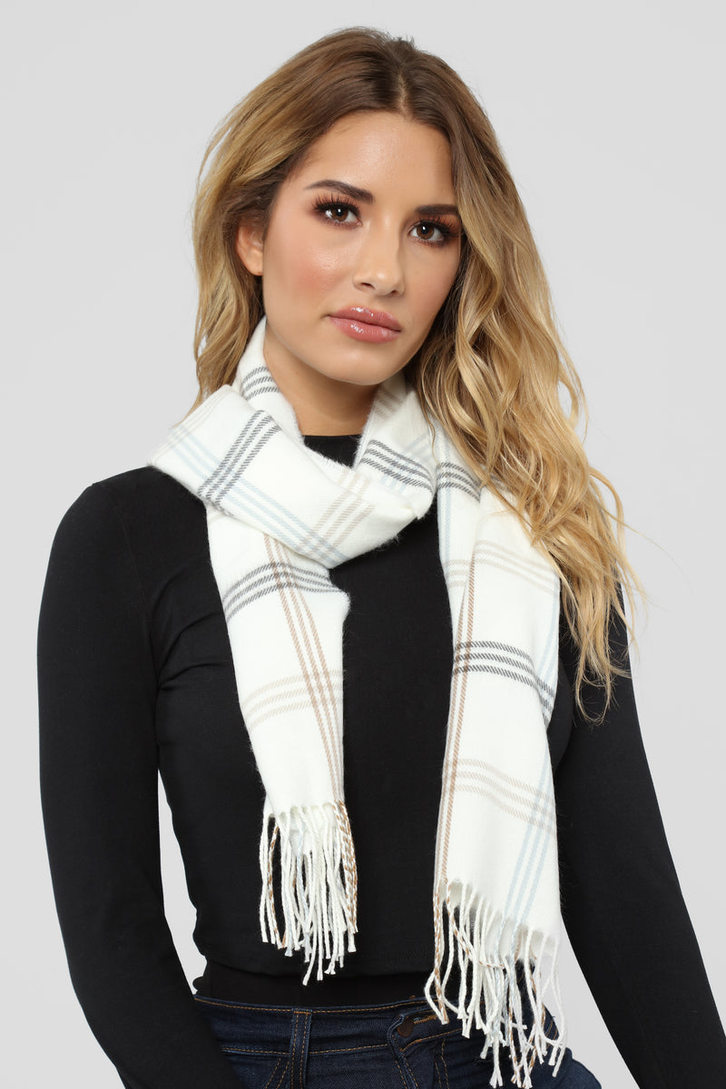 Glad In Plaid Scarf - White