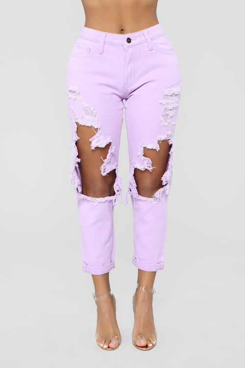 Big Expectations High Rise Boyfriend Jeans - Lilac