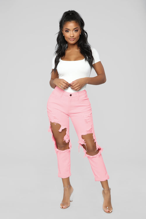 Big Expectations High Rise Boyfriend Jeans - Pink