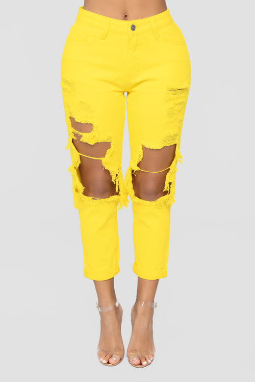 Big Expectations High Rise Boyfriend Jeans - Yellow