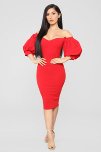 My Confession Off Shoulder Dress - Red Angle 1