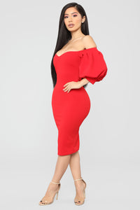 My Confession Off Shoulder Dress - Red Angle 3