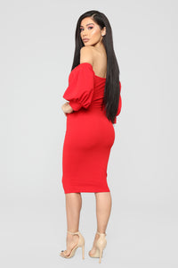 My Confession Off Shoulder Dress - Red Angle 4