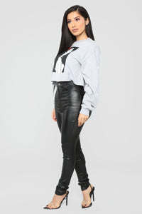 Como La Flor Long Sleeve Crop Top - Heather Grey