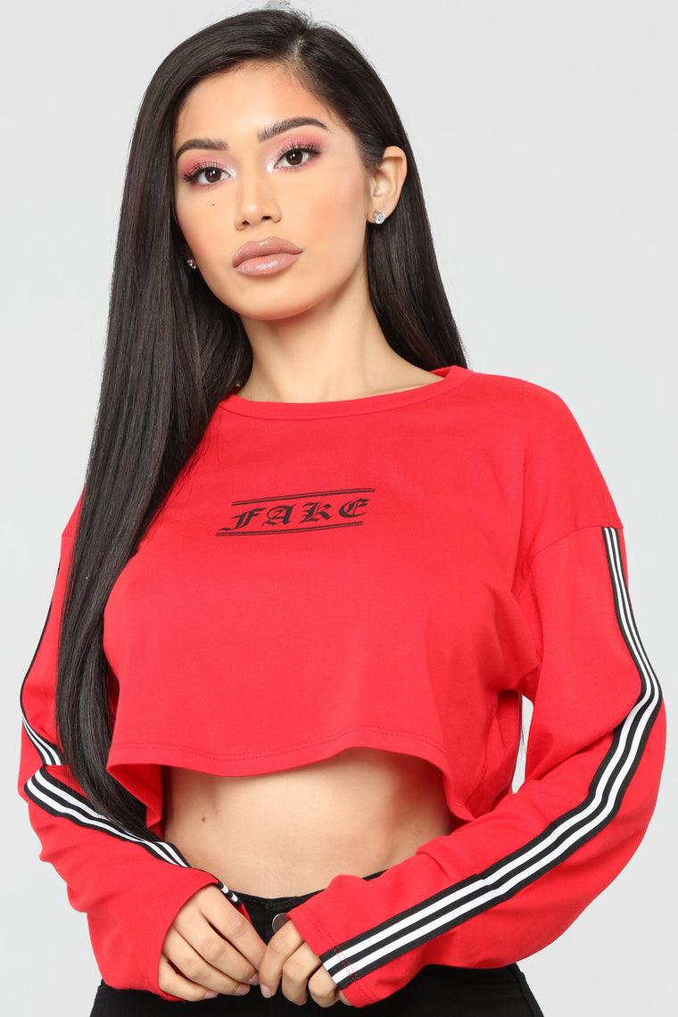 You're So Fake Cropped Top - Red