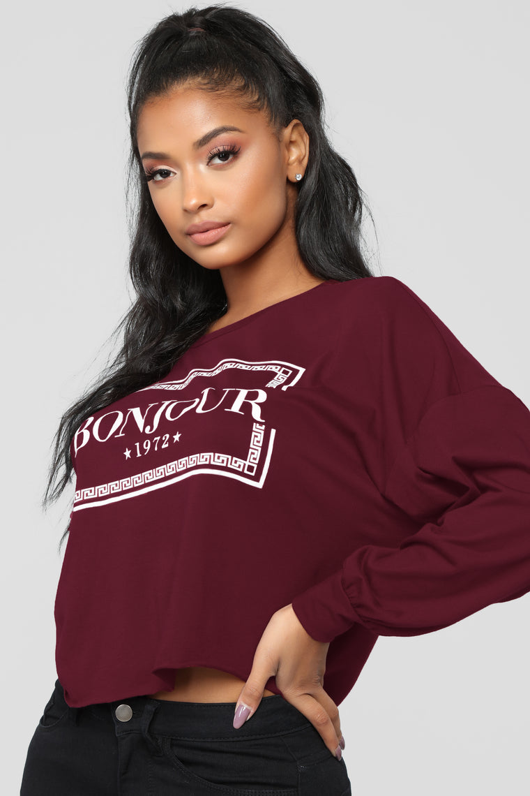 Bonjour From Paris Top - Burgundy