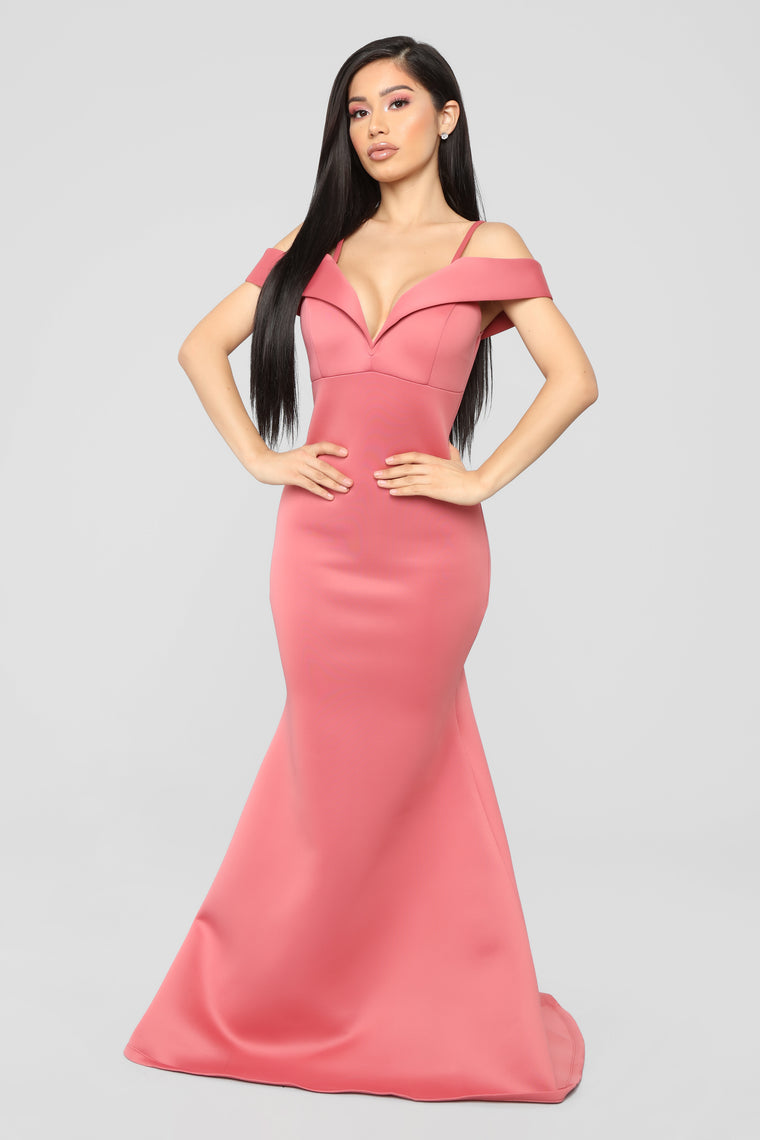 Going Hollywood Off Shoulder Gown - Mauve