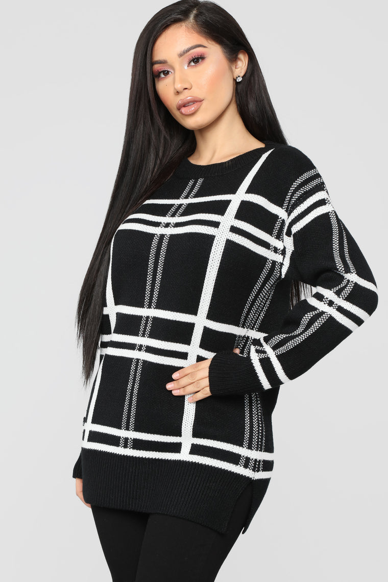 Hate Me Now Tunic Sweater - Black/Combo