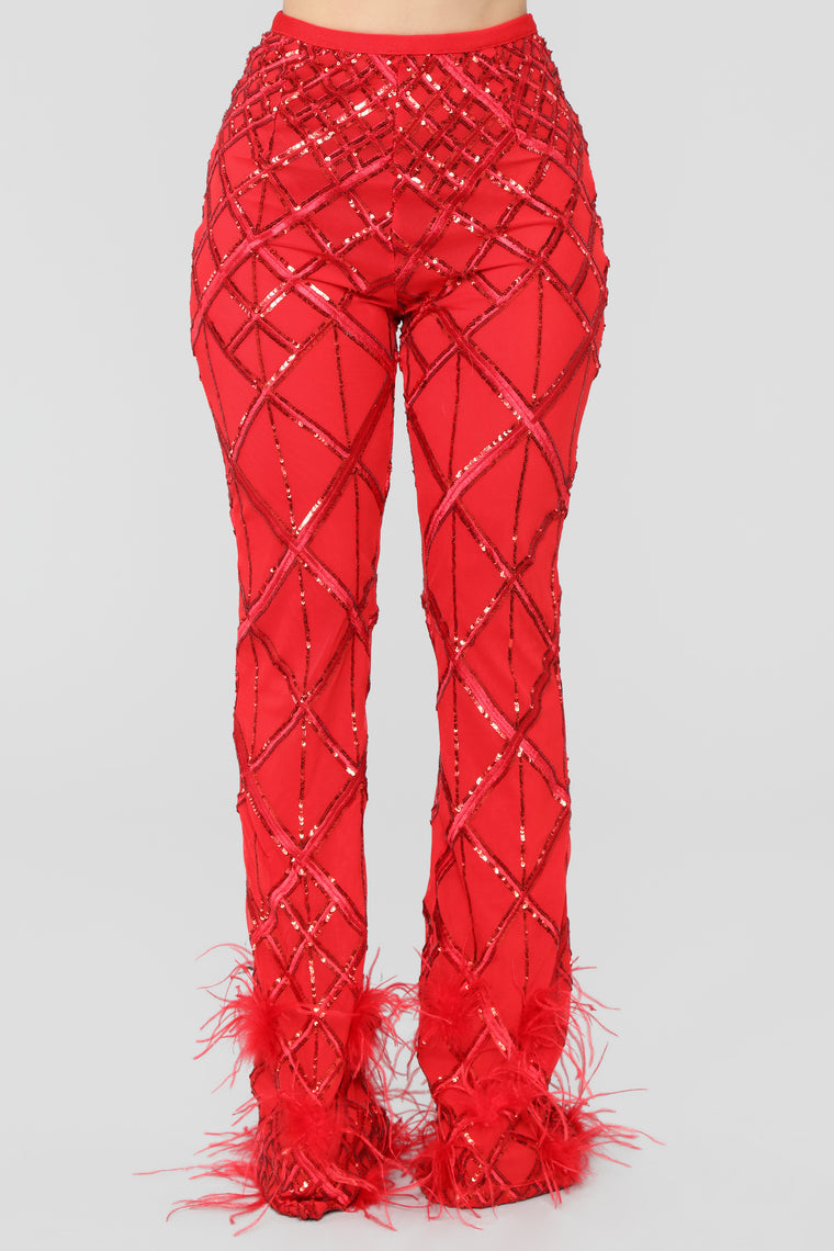 Dance With Me Sequin Pant Set - Red