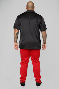 Olympic Track Short Sleeve Woven Top - Black