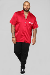 Paradise Bowling Short Sleeve Woven Top - Red Angle 8