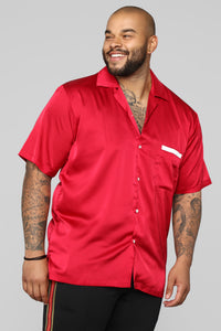 Paradise Bowling Short Sleeve Woven Top - Red Angle 9
