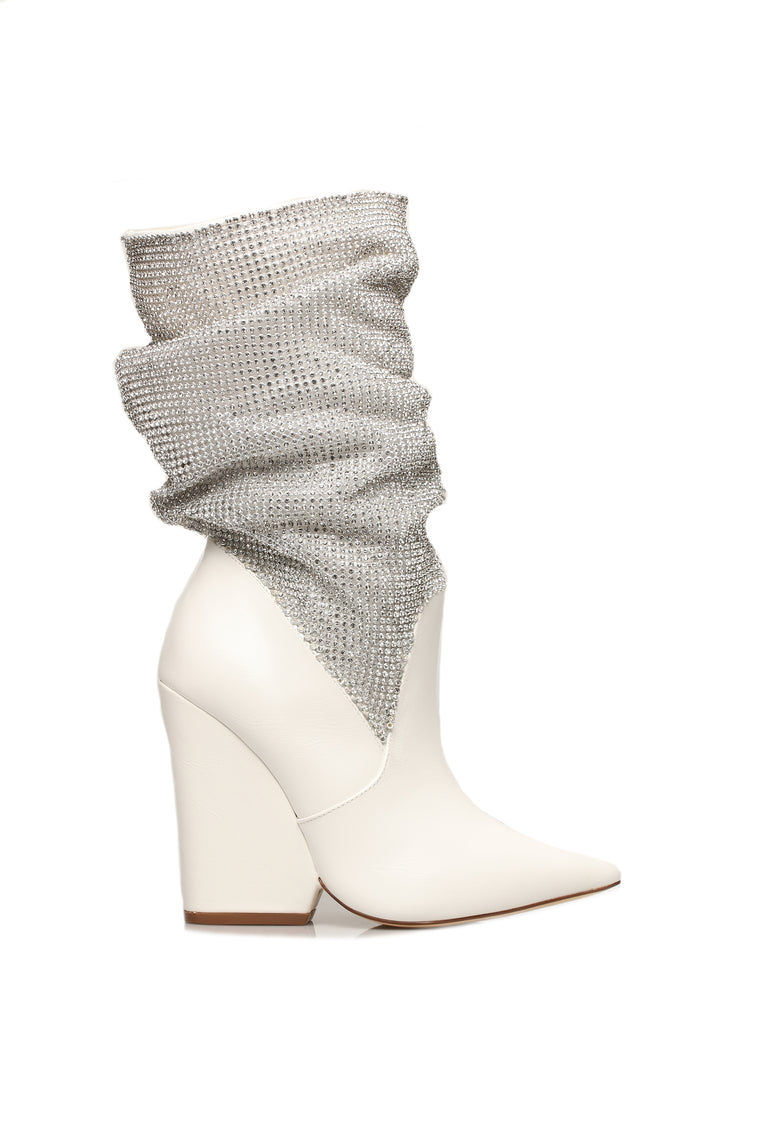 All The Way Up Heeled Boot - White