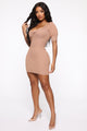 Can't Be Blamed Sweater Mini Dress - Camel