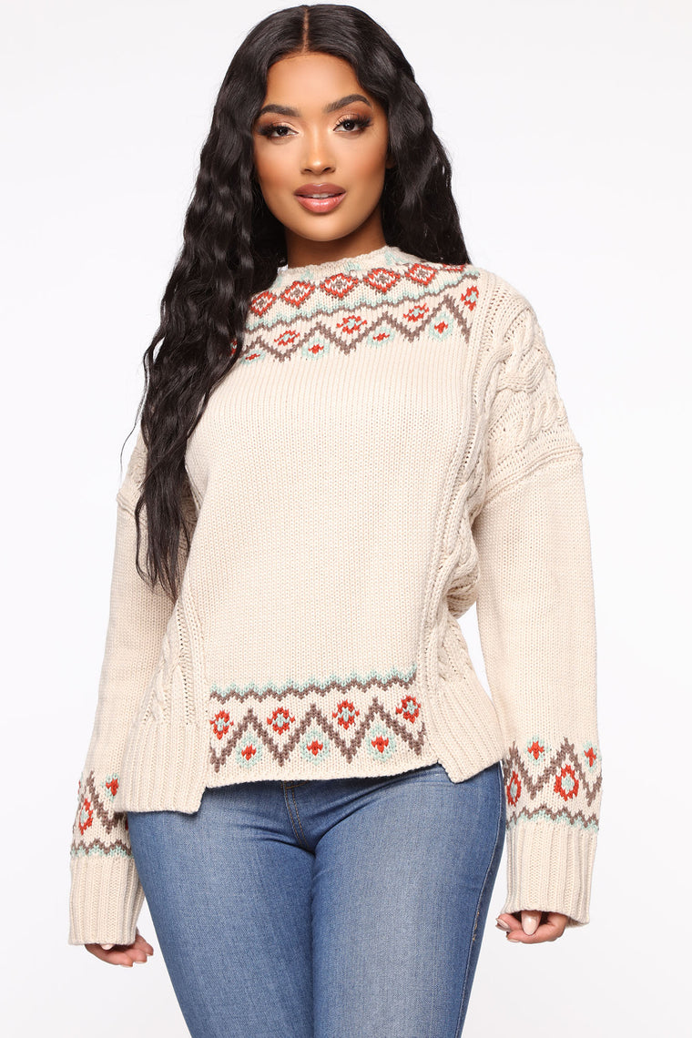 Cuddle With Me Sweater   Beige by Fashion Nova