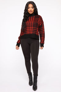Plaid For You Sweater - Black/Red Angle 3