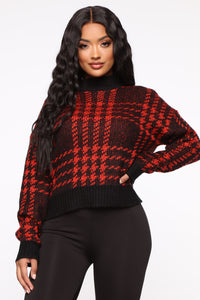 Plaid For You Sweater - Black/Red Angle 1