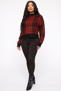 Plaid For You Sweater - Black/Red Angle 4