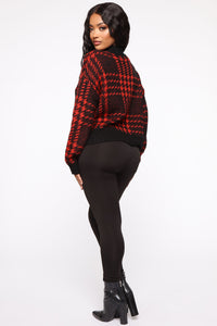 Plaid For You Sweater - Black/Red Angle 5