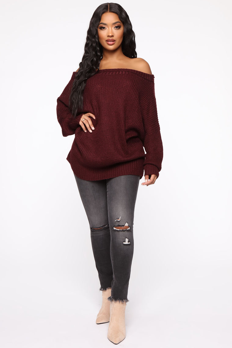 Cute But Cozy Oversized Sweater - Burgundy