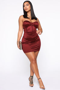 Dream On Satin Mini Dress - Dark Red