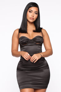 Sierra Satin Mini Dress - Black Angle 1